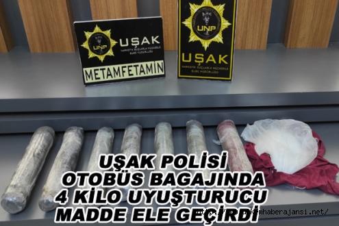 POLİS OTOBÜS BAGAJINDA 4 KİLO UYUŞTURUCU MADDE ELE GEÇİRDİ
