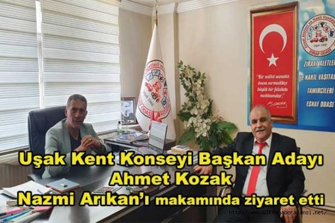 Uşak Kent Konseyi Başkan adayı Ahmet Kozak Nazmi Arıkan'ı makamında ziyaret etti